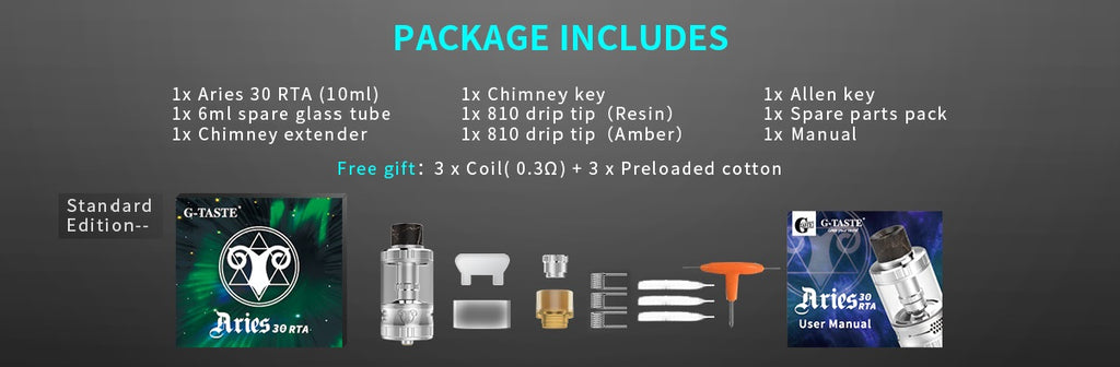 G-TASTE Aries RTA 10ml 30mm Package Includes