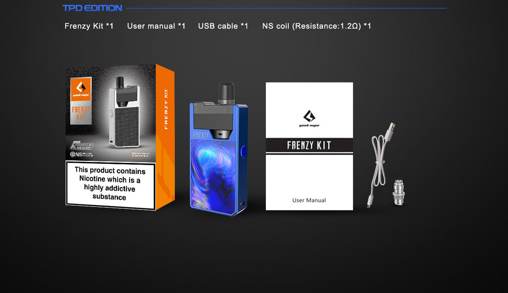 GeekVape Frenzy Vape Pod Kit Package Includes