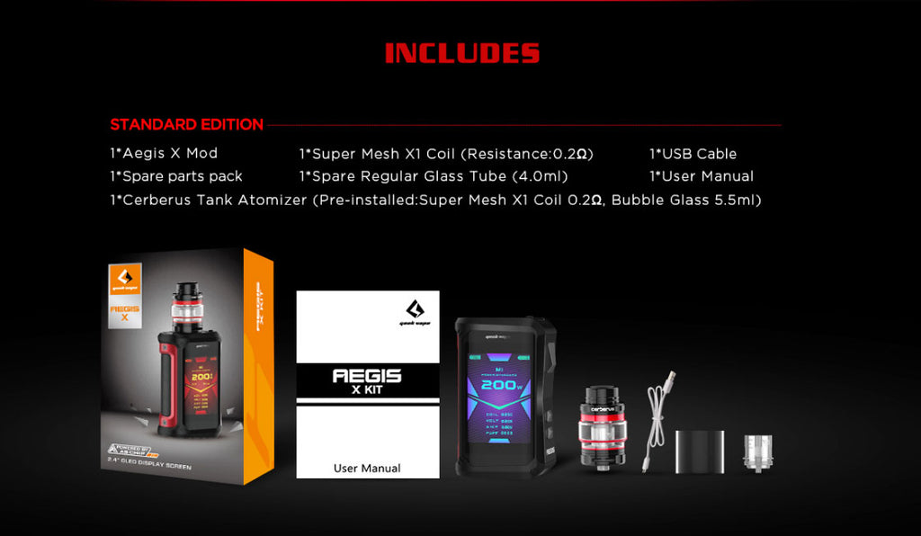 Geekvape Aegis X TC Mod Kit Standard Edition Includes