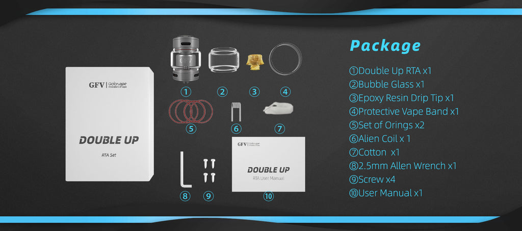 Gofovape Double Up 23mm RTA Package Includes