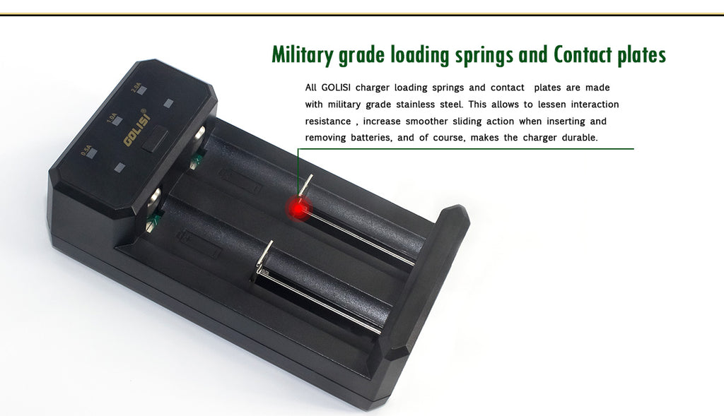 Golisi L2 Smart USB Charger Military Grade Loading Springs & Contact Plates