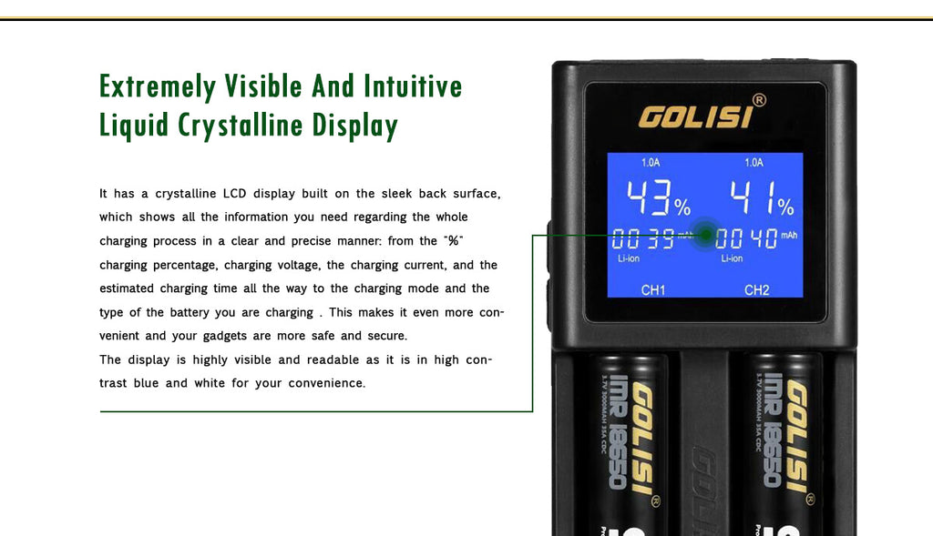 Golisi S2 Charger with LCD Screen 2A Screen