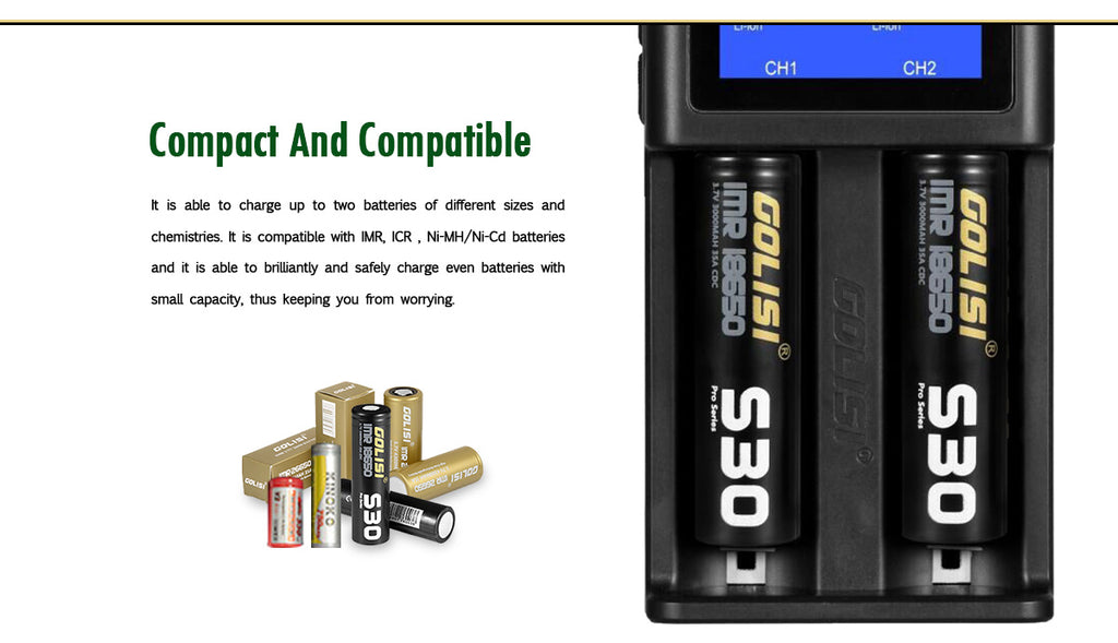 Golisi S2 Charger with LCD Screen 2A Different Size Batteries