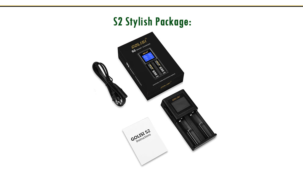 Golisi S2 Charger with LCD Screen 2A Package Includes