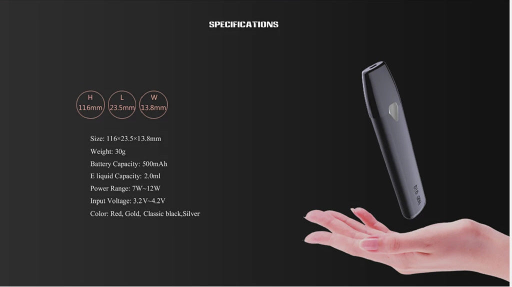 HQD KIM KIT Vape Pod System Specifications