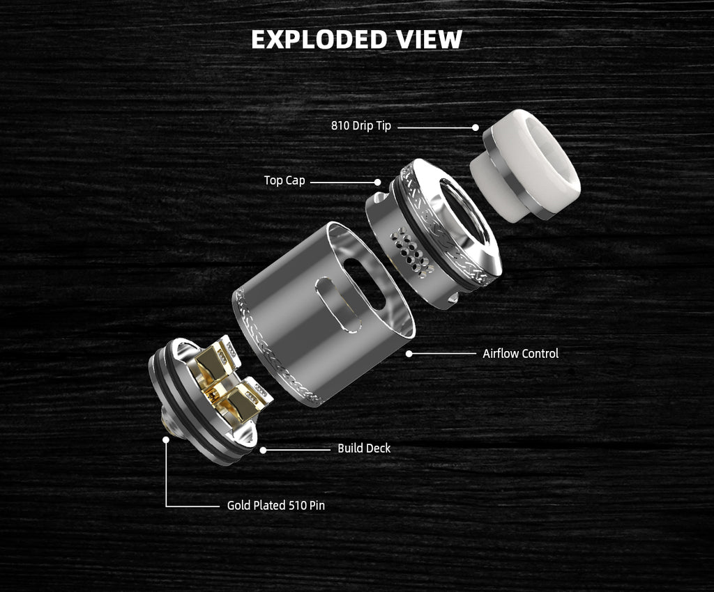Hellvape Dead Rabbit V2 BF RDA 24mm Exploded View