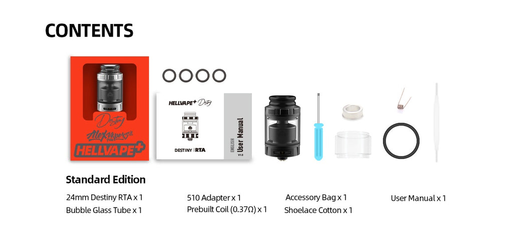 Hellvape Destiny 4ml RTA 22mm Package Contents