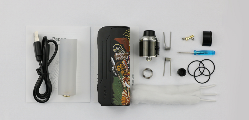 Hippovape Papua VV Box Mod Kit 100W Package Content