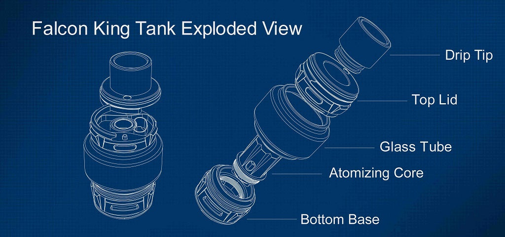 Horizon Falcon King Tank 6ml Exploded View
