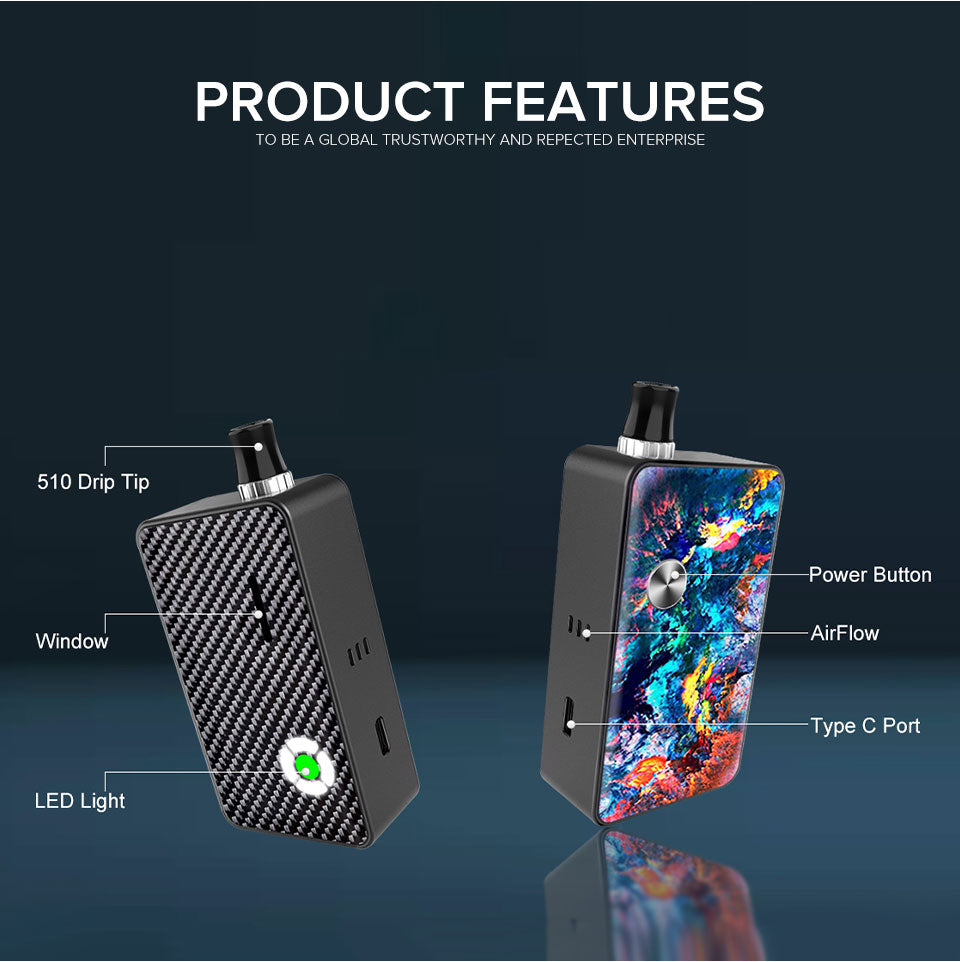 Hugo Vapor Planet Vape Pod System Starter Kit Features