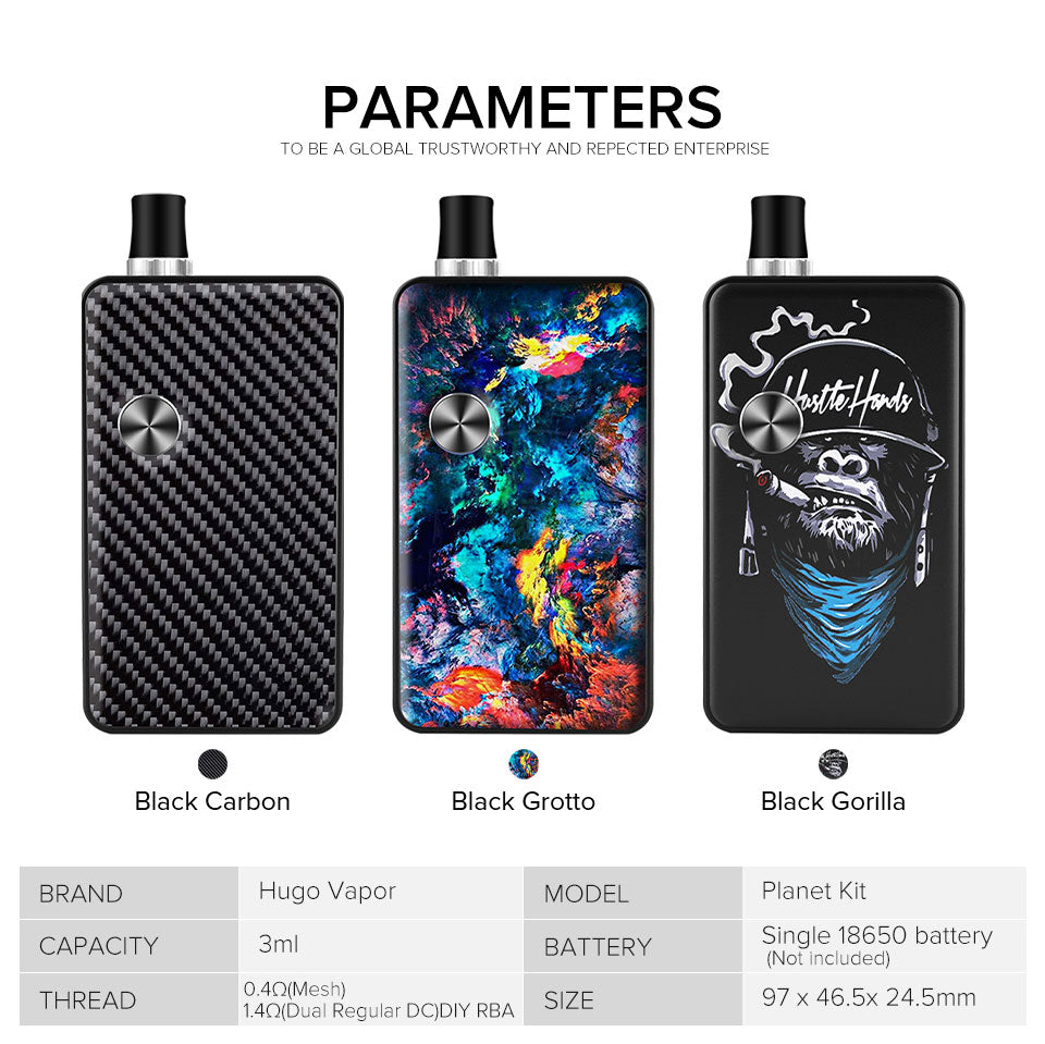 Hugo Vapor Planet Vape Pod System Starter Kit Parameters