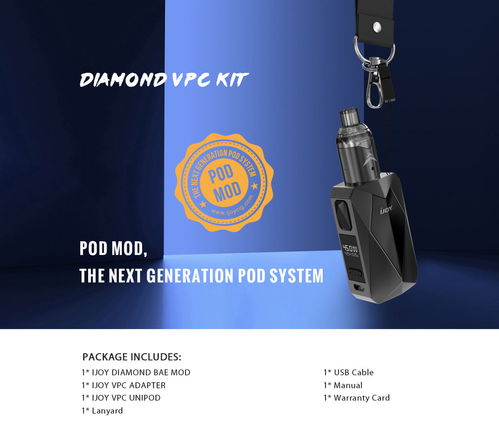 IJOY Diamond VPC Vape Pod System Product Includes