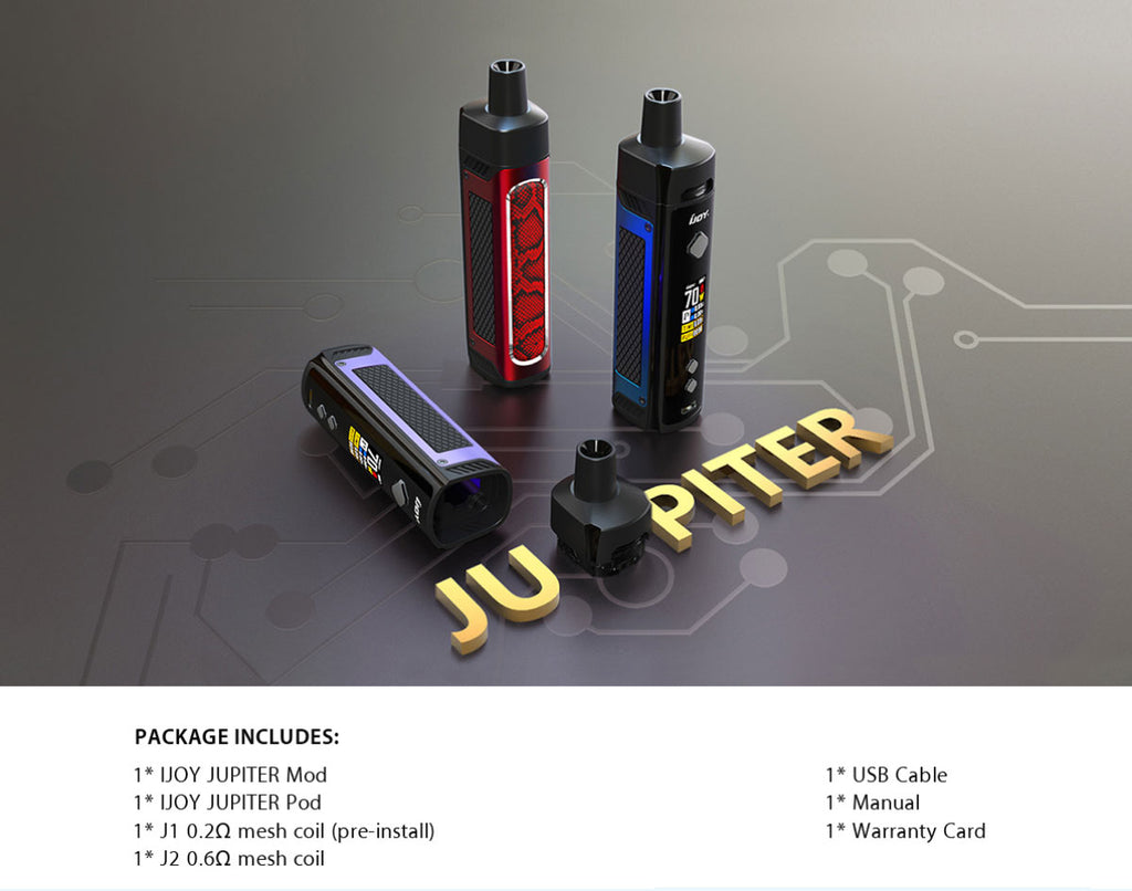 IJOY JUPITER Pod System VW Starter Kit Package Includes