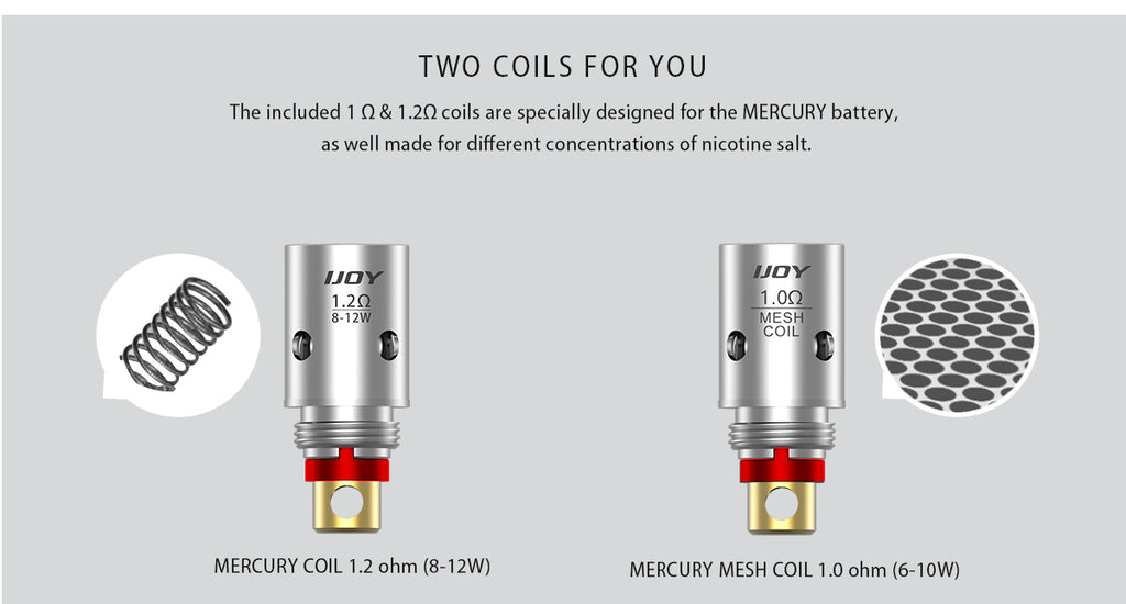 IJOY Mercury Vape Pod System Two Coils Available