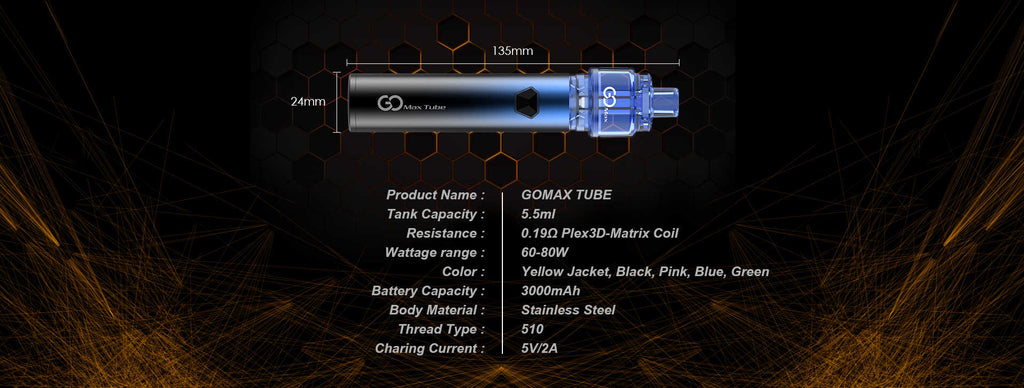 Innokin Gomax Tube Vape Pen Starter Kit 3000mAh 5.5ml Specifications
