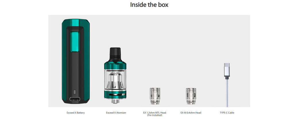 Joyetech Exceed X VW Mod Kit 1000mAh 1.8ml Package Includes