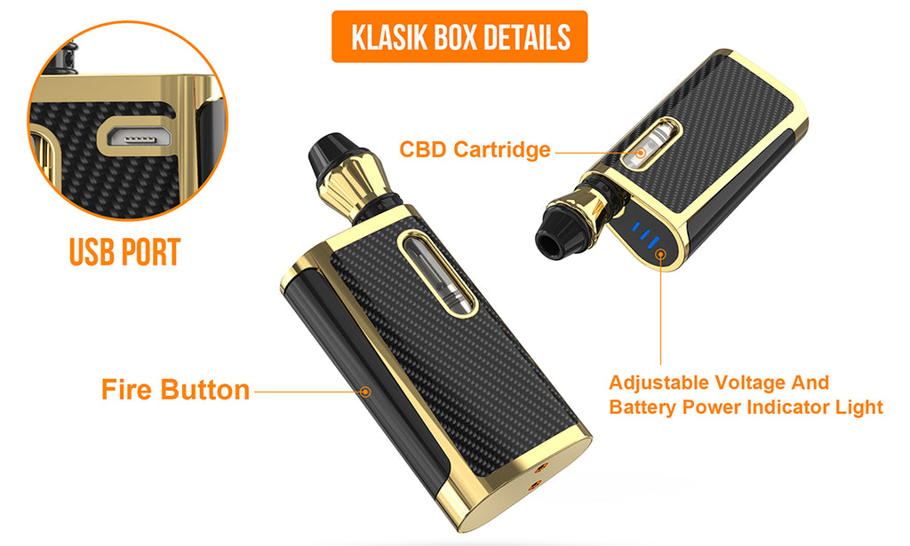 Kangvape Klasik VV Box Mod Kit Details with K3 Atomizer 650mAh 0.5ml