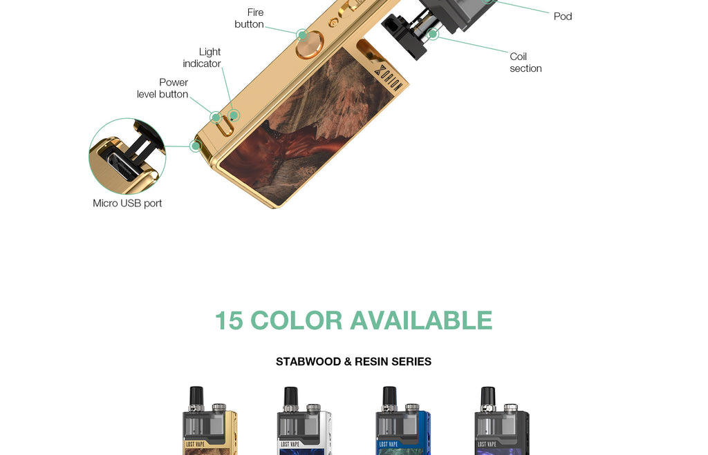 Lost Vape Orion Plus DNA GO Vape Pod System Starter Kit Components