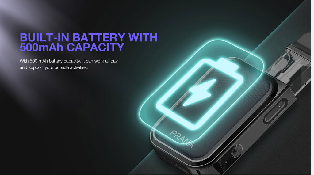 Built-in Battery With 500mAh Capacity