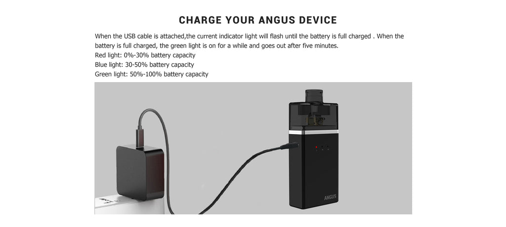 Nevoks Angus Pod System VW Starter Kit with RDA 60W 1700mAh USB Charging