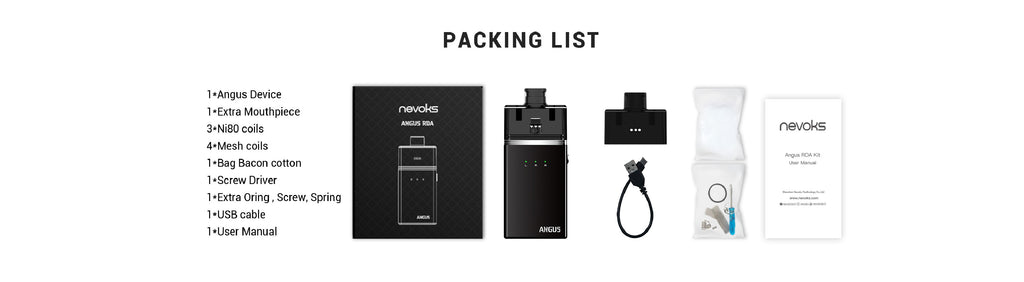 Nevoks Angus Pod System VW Starter Kit with RDA 60W 1700mAh Package List
