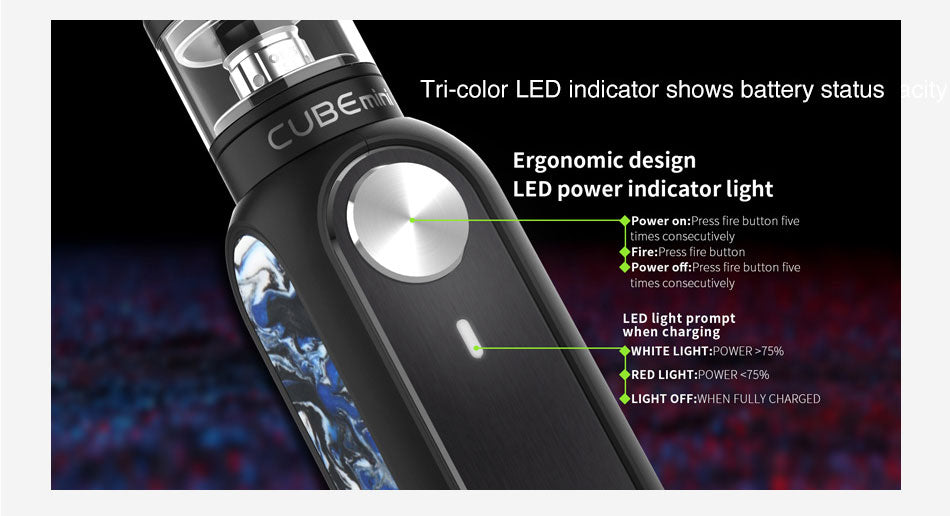 OBS Cube Mini Vape Pen Kit Tri-color LED Indicator