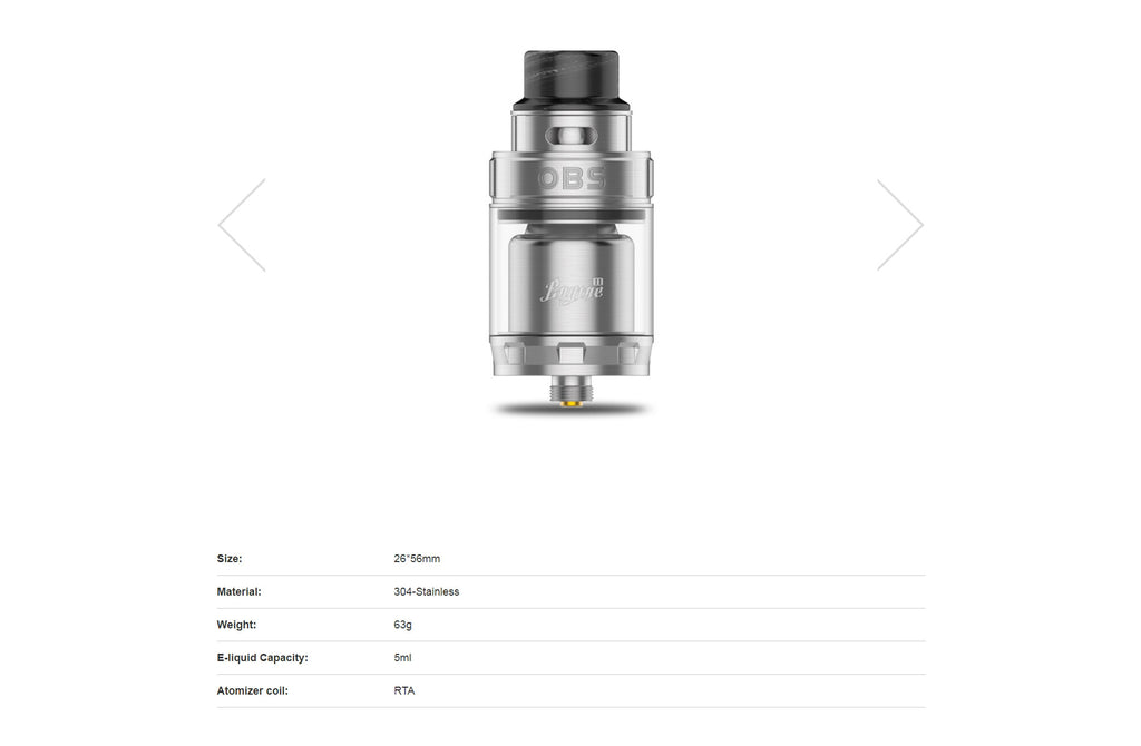 OBS Engine II RTA 5ml Specifications