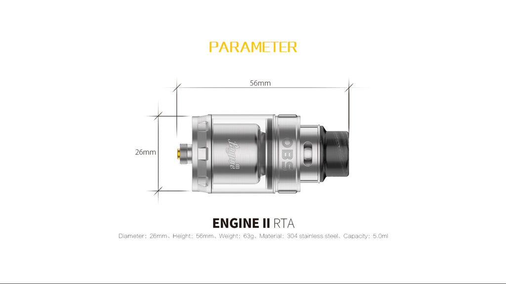 OBS Engine II RTA 5ml Parameter