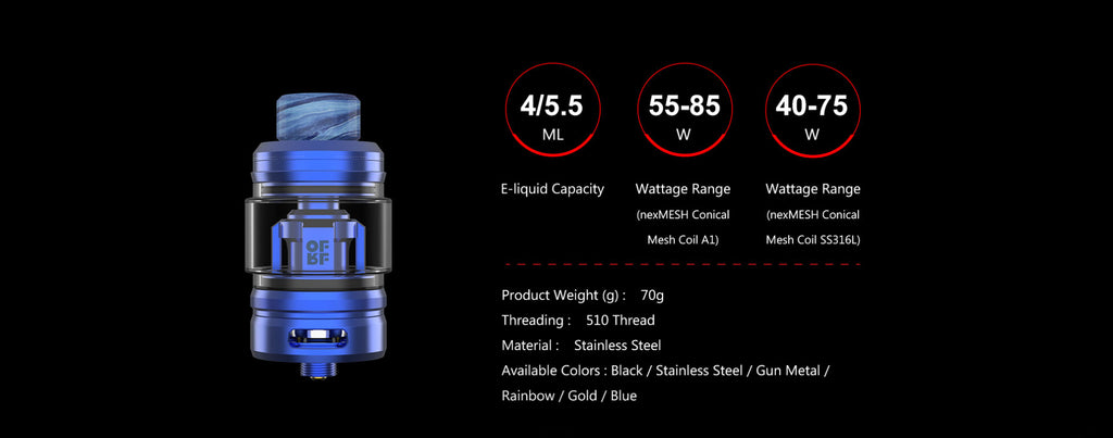 OFRF NexMESH Sub-Ohm Tank Specifications