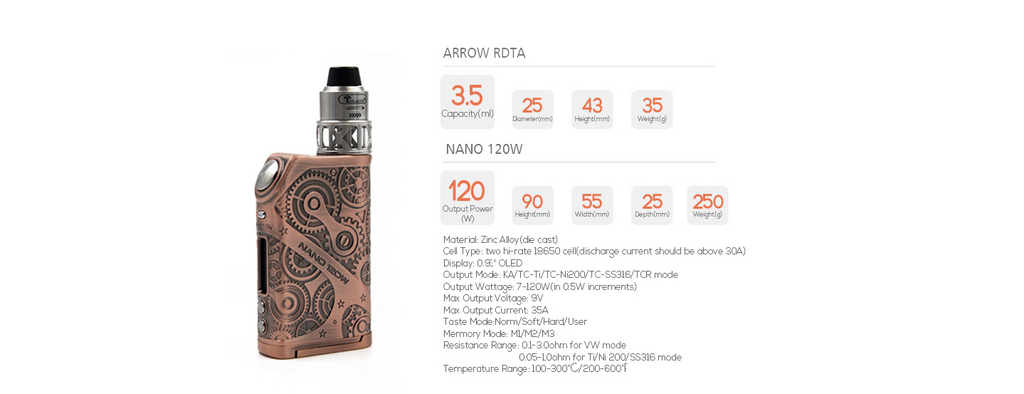 Teslacigs Nano 120W Steampunk TC Box Mod Specifications