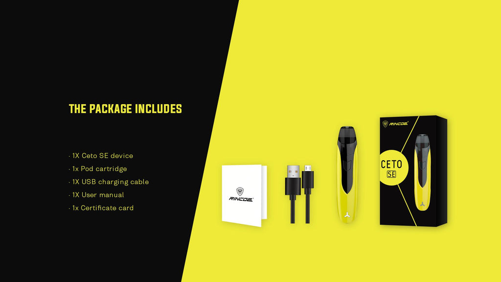 Rincoe Ceto SE Vape Pod System Package Includes