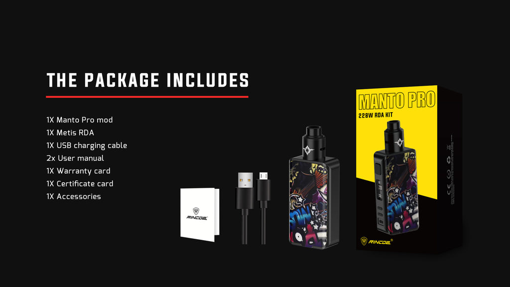 Rincoe Manto Pro TC Mod Kit with Metis RDA 228W Package Includes