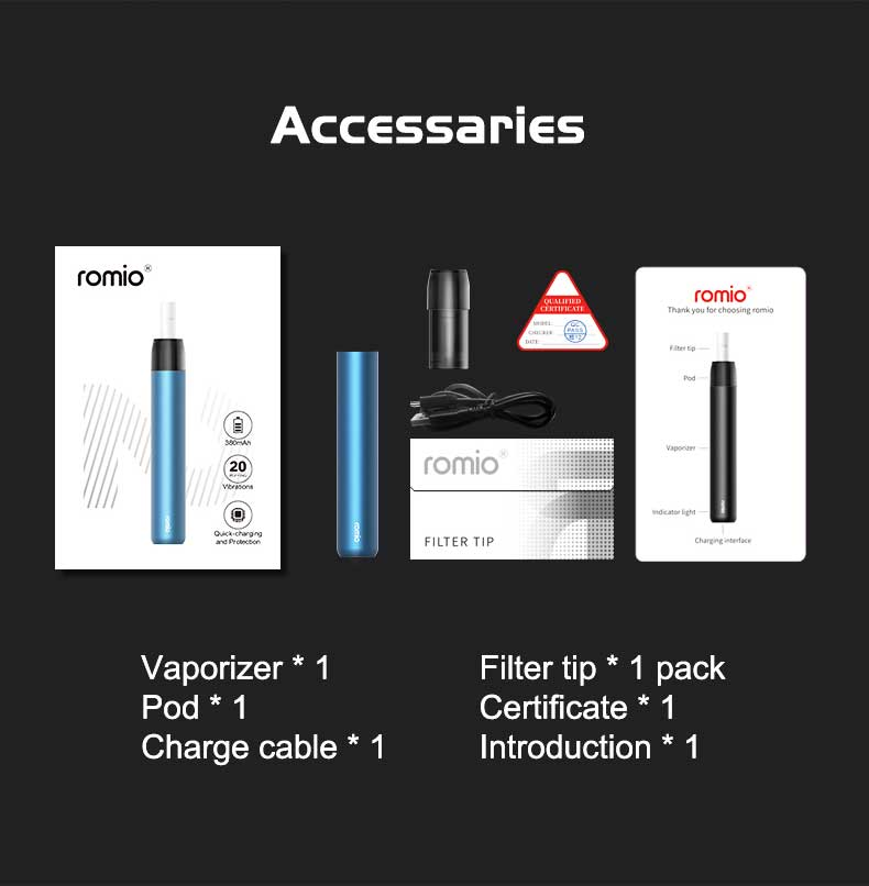 Romio 2.0 AIO Starter Kit 380mAh 2ml Package Includes