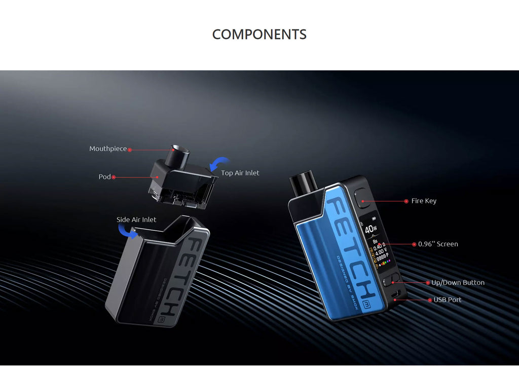 SMOK Fetch Mini Vape Pod System VW Starter Kit 1200mAh 3.7ml Standard Edition Components