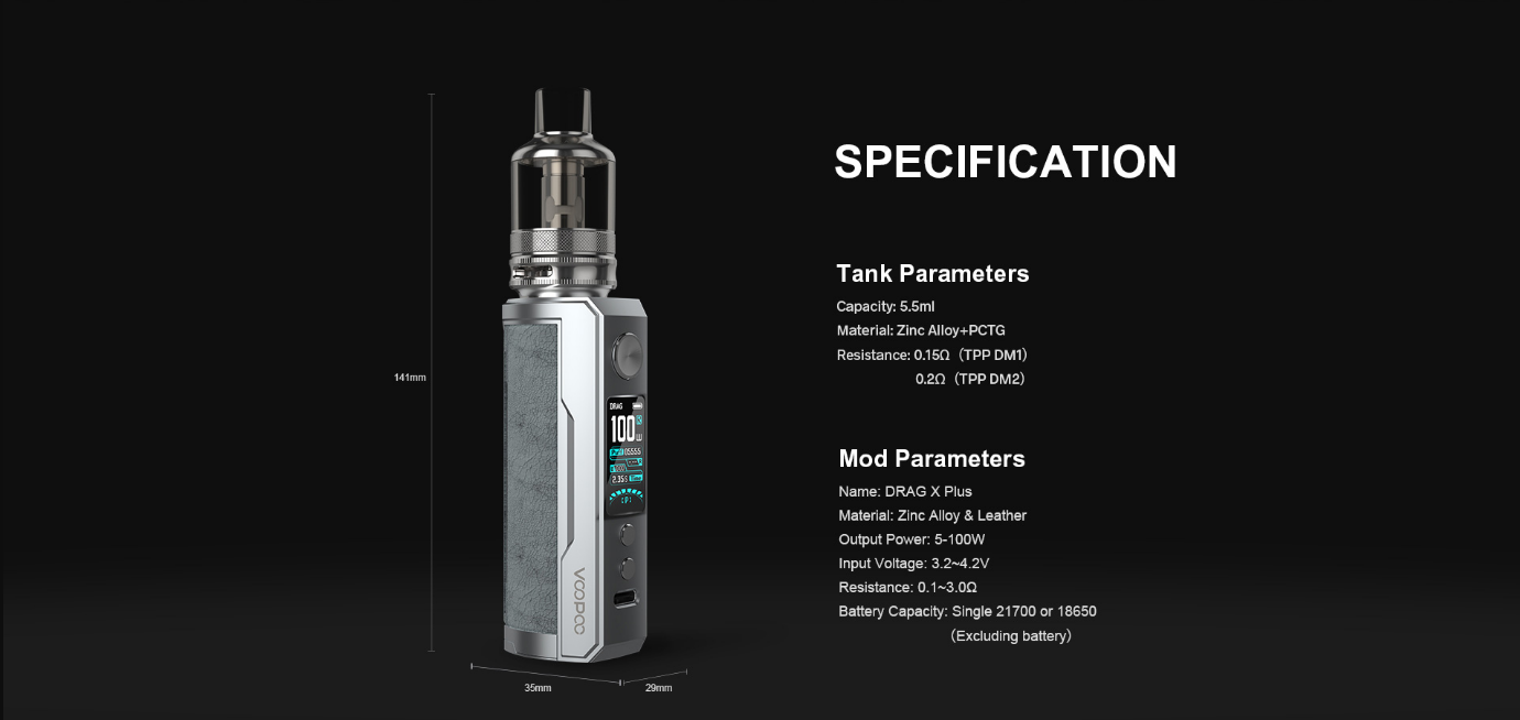 Drag X Plus SPECIFICATION voopoo