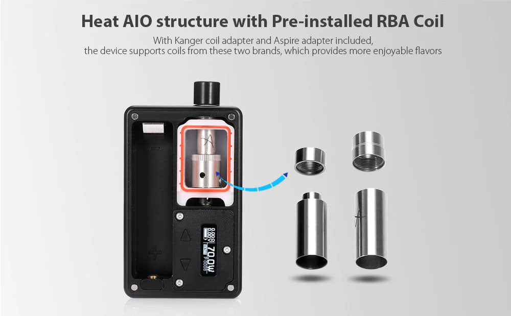 SXK BB Style 70W TC Box Mod Kit Heat AIO Structure With Pre-installed RBA Coil