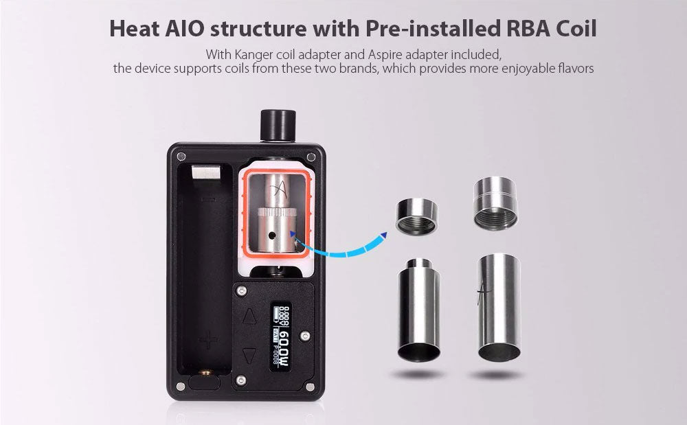 SXK BB Style 60W VW Box Mod Kit Heat AIO Structure With Pre-Installed RBA COil