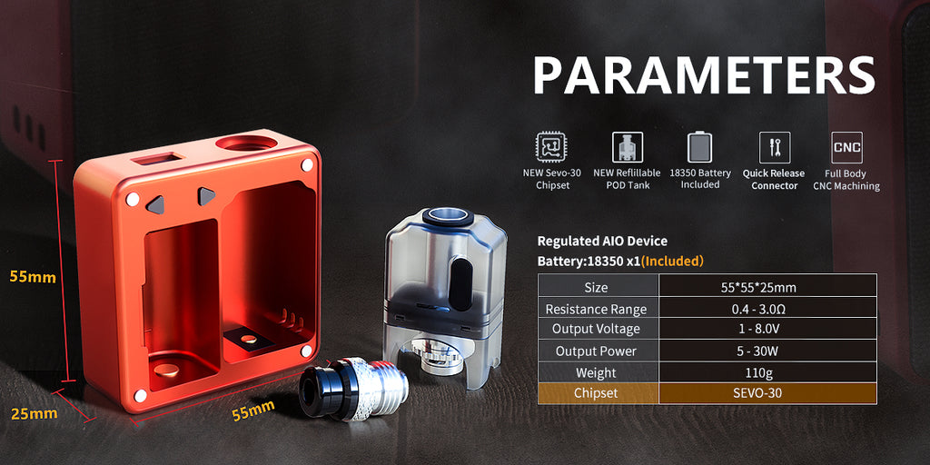 SXK Bantam Revision VW Box Mod Kit 30W 5ml Parameters