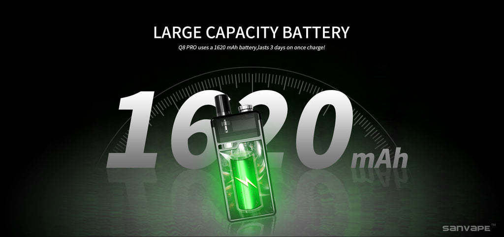 Sanvape Q8 Pro 1620mAh Pod System VW Starter Kit Large Capacity Battery