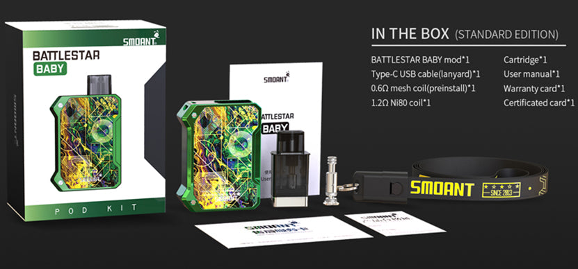 Smoant Battlestar Baby Vape Pod System Starter Kit 750mAh 2ml Standard Edition Package Includes