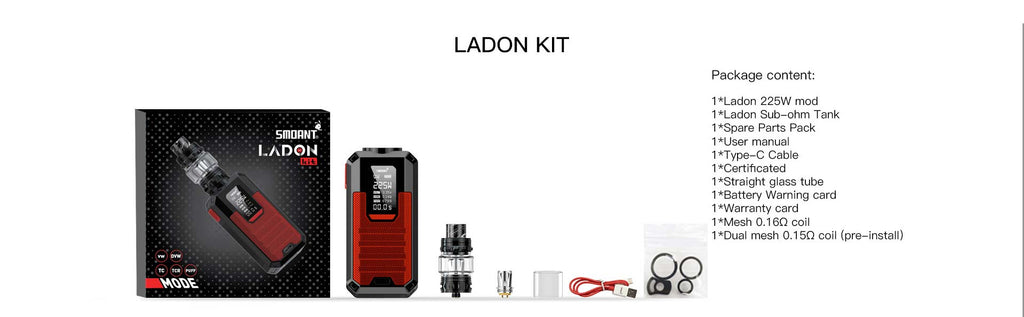 Smoant Ladon 225W AIO Kit 6ml Package Content