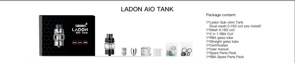 Smoant Ladon AIO Tank 6ml 28mm Package Content