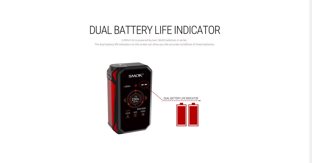 Smok G-Priv 2 TC Mod Kit with TFV8 X-Baby Tank Dual Battery Life Indicator