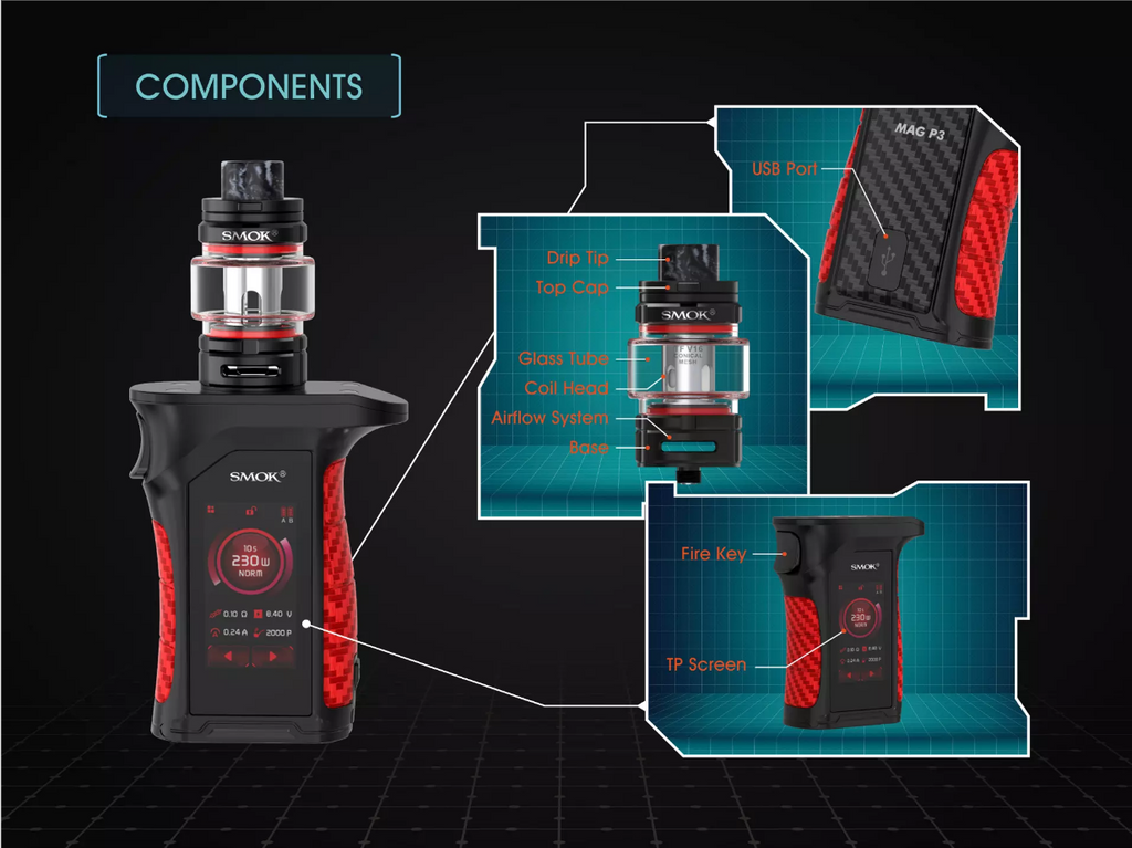 Smok MAG P3 TC Mod Kit Components
