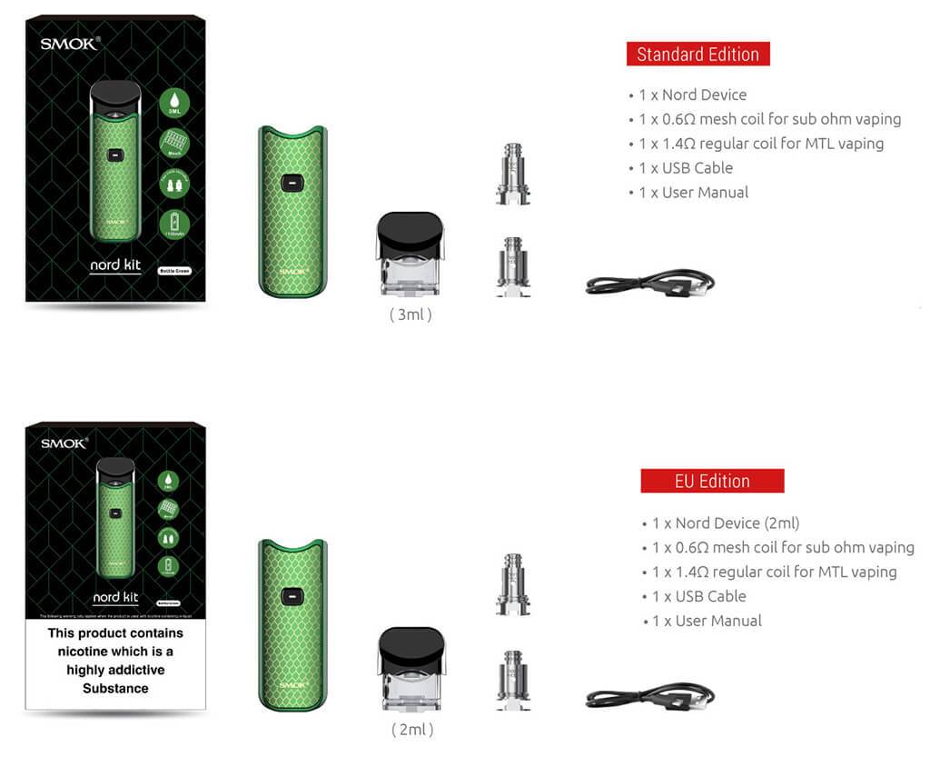 Smok Nord Vape Pod System Package Contents