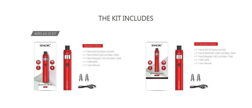Smok Nord AIO 22 Vape Pen Kit Package Contents
