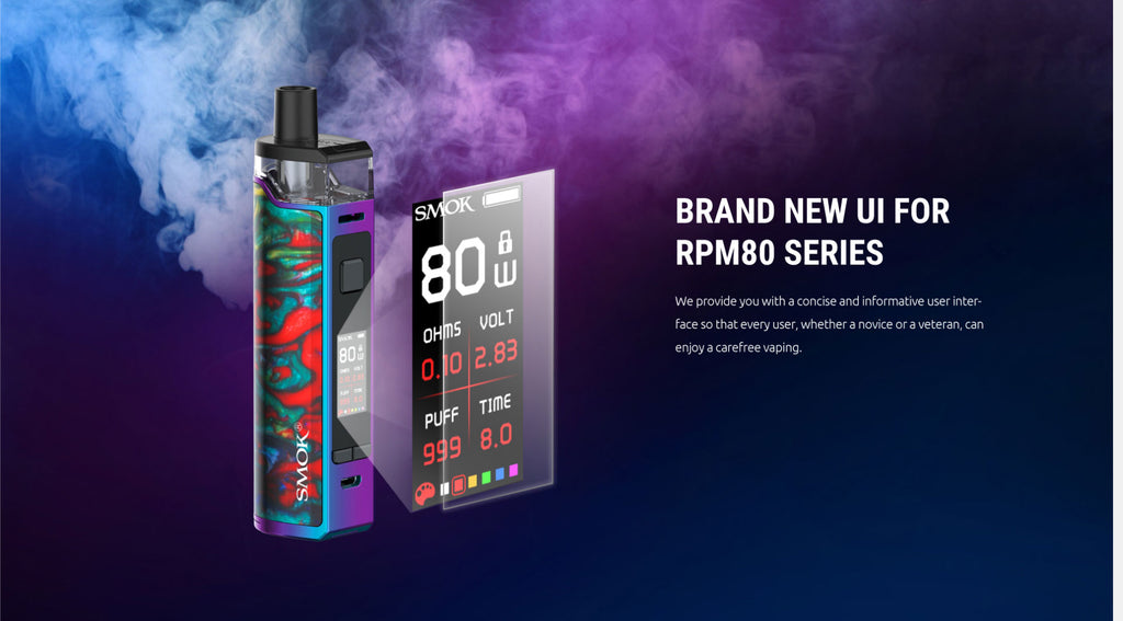 Smok RPM80 Pod System VW Starter Kit New UI Screen