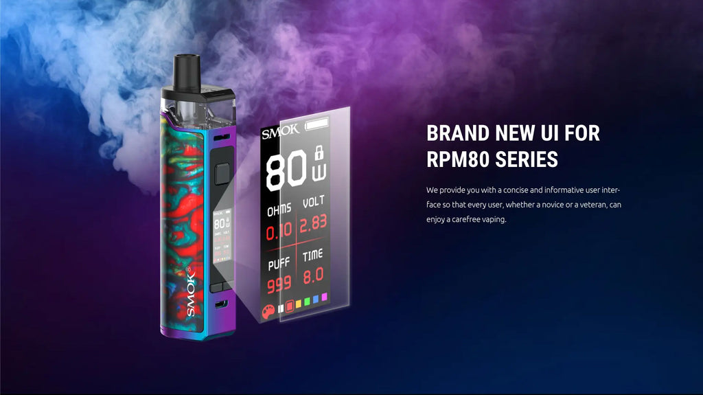 Smok RPM80 Pro Pod System VW Starter Kit 80W 5ml Brand New UI For RPM80 Series