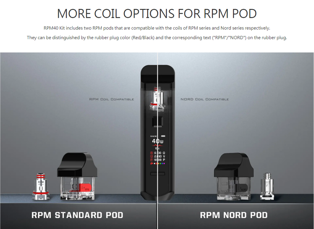 Smok RPM 40 Replacement Empty Pod Cartridge 2 Coil Options For RPM Pod