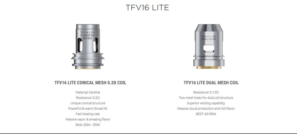 Smok TFV16 Lite Tank Conical Mesh Coil Head and Dual Mesh Coil Head